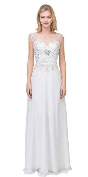 Illusion Scoop Neckline Beaded Long Formal Dress Off White
