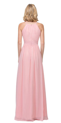 Blush A-line Floor Length Formal Dress Keyhole Neckline
