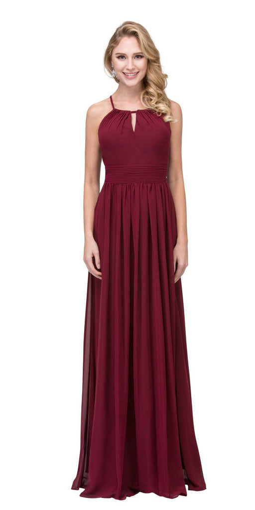 Burgundy A-line Floor Length Formal Dress Keyhole Neckline