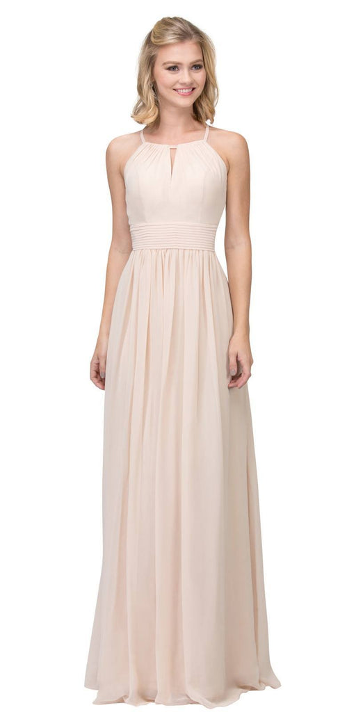 Champagne A-line Floor Length Formal Dress Keyhole Neckline