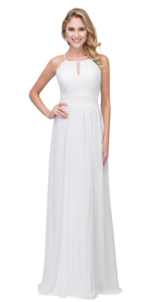 White A-line Floor Length Formal Dress Keyhole Neckline