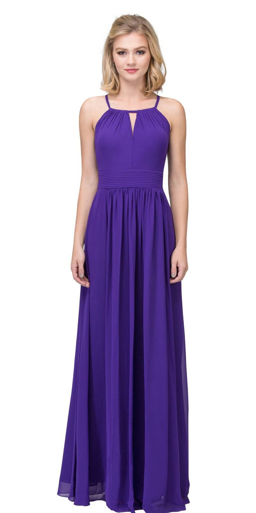 Purple A-line Floor Length Formal Dress Keyhole Neckline