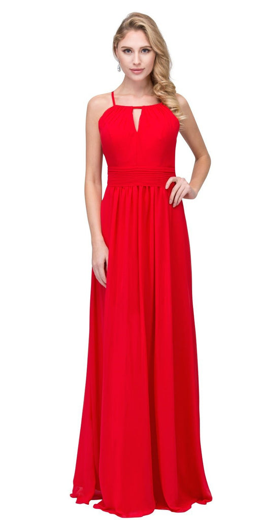 Red A-line Floor Length Formal Dress Keyhole Neckline