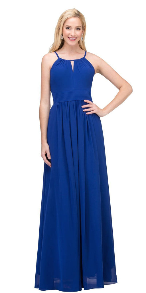 Royal Blue A-line Floor Length Formal Dress Keyhole Neckline