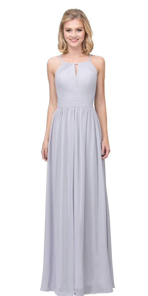 Silver A-line Floor Length Formal Dress Keyhole Neckline