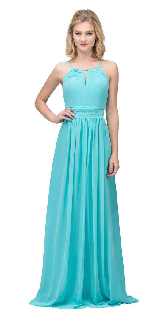 Tiffany Blue A-line Floor Length Formal Dress Keyhole Neckline