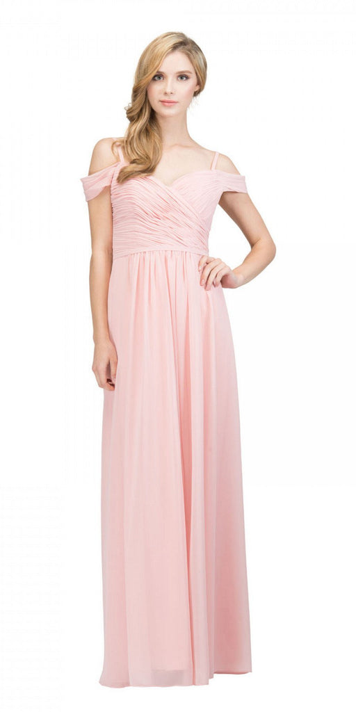 Starbox USA 17210 Blush Cold-Shoulder Long Formal Dress Ruched V-Neck