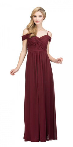 Starbox USA 17210 Burgundy Cold-Shoulder Long Formal Dress Ruched V-Neck
