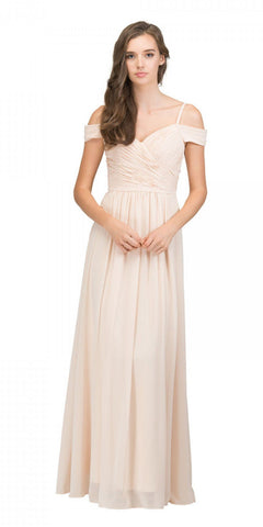 Starbox USA 17210 Champagne Cold-Shoulder Long Formal Dress Ruched V-Neck