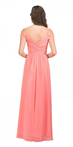 Starbox USA 17210 Coral Cold-Shoulder Long Formal Dress Ruched V-Neck Back View