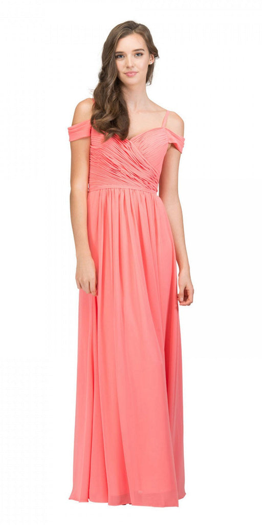 Starbox USA 17210 Coral Cold-Shoulder Long Formal Dress Ruched V-Neck