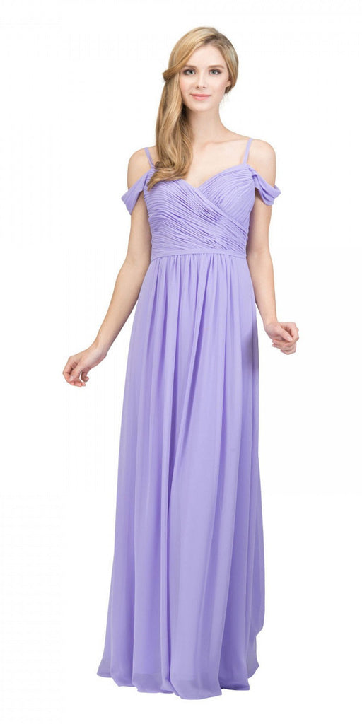 Starbox USA 17210 Lilac Cold-Shoulder Long Formal Dress Ruched V-Neck