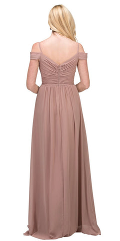 Starbox USA 17210 Mocha Cold-Shoulder Long Formal Dress Ruched V-Neck Back View