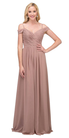 Starbox USA 17210 Mocha Cold-Shoulder Long Formal Dress Ruched V-Neck