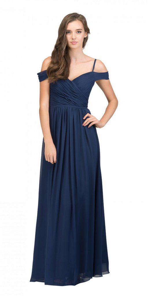 Starbox USA 17210 Navy Blue Cold-Shoulder Long Formal Dress Ruched V-Neck