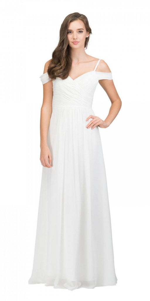 Starbox USA 17210 Off White Cold-Shoulder Long Formal Dress Ruched V-Neck