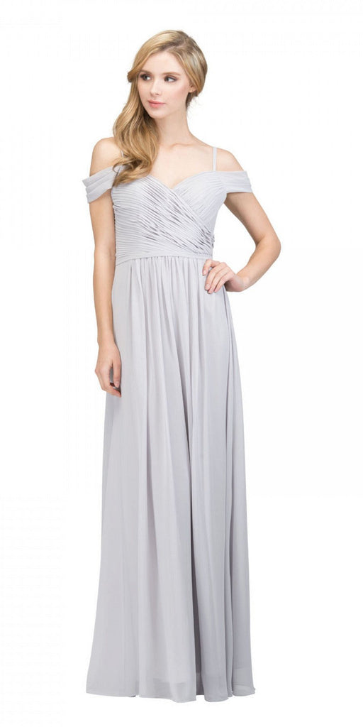 Starbox USA 17210 Silver Cold-Shoulder Long Formal Dress Ruched V-Neck