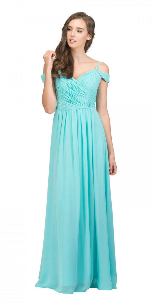 Starbox USA 17210 Tiffany Blue Cold-Shoulder Long Formal Dress Ruched V-Neck