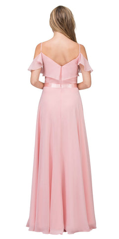 Blush Ruffled Cold-Shoulder Long Formal Dress A-line