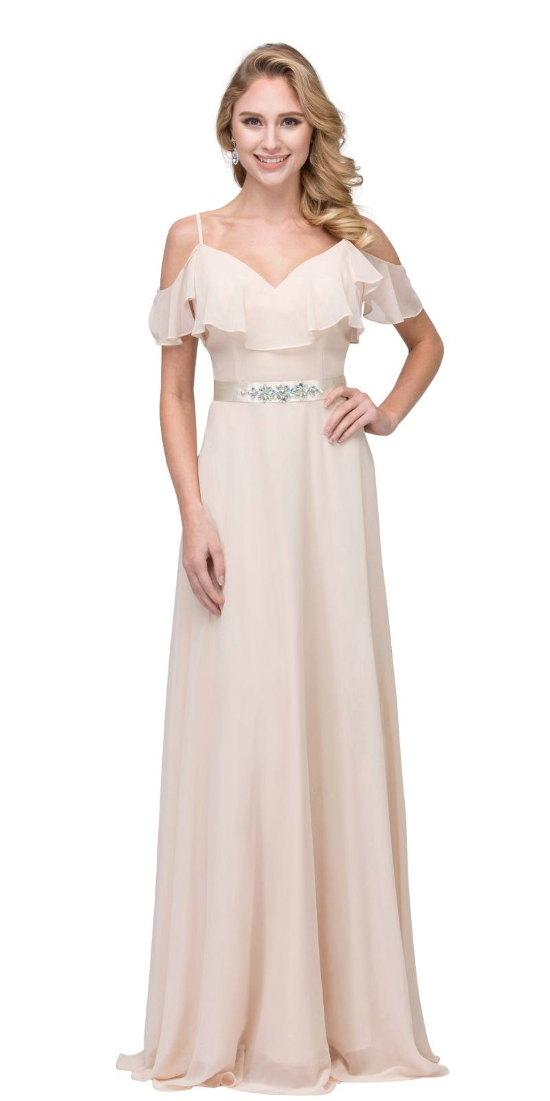 Starbox USA 17211 Champagne Ruffled Cold-Shoulder Long Formal Dress ...