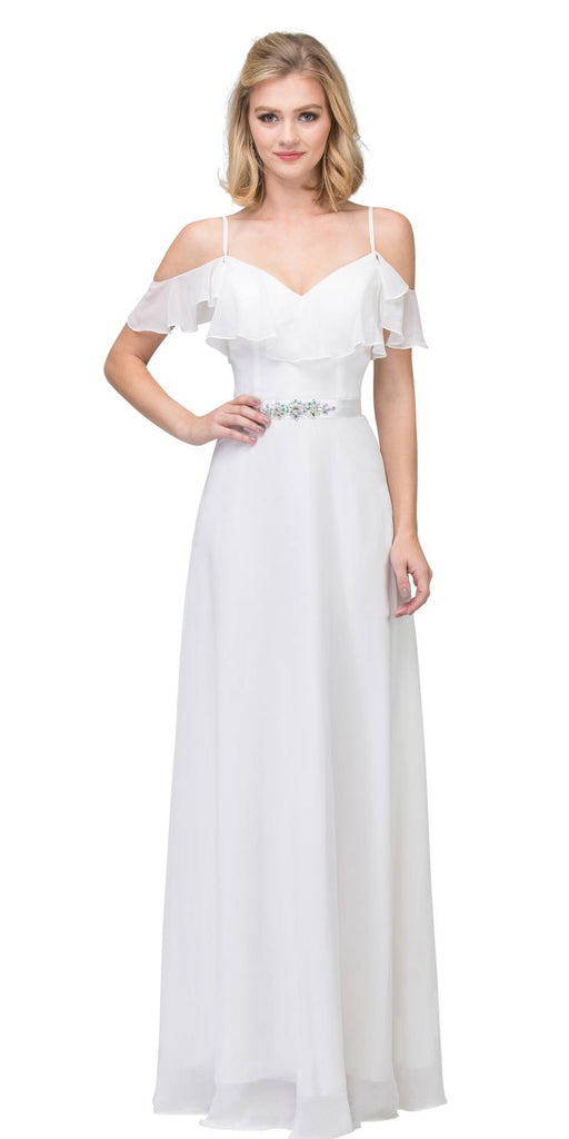Off White Ruffled Cold-Shoulder Long Formal Dress A-line