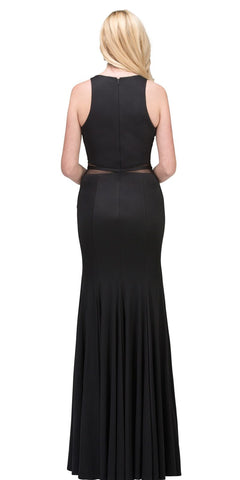 Black/White Mermaid Prom Gown Keyhole Neckline with Slit