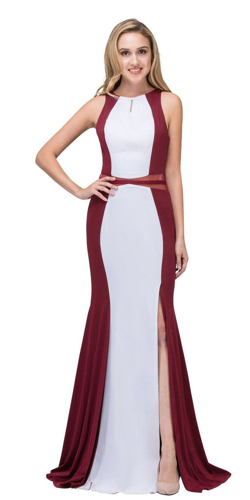 Burgundy/White Mermaid Prom Gown Keyhole Neckline with Slit