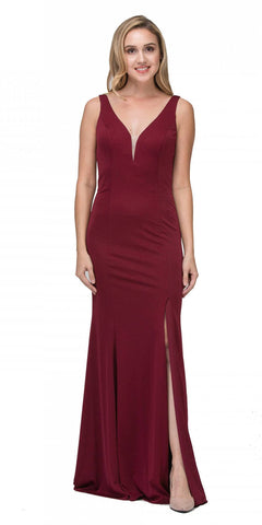 Burgundy V-Neck ITY Long Formal Dress with Slit