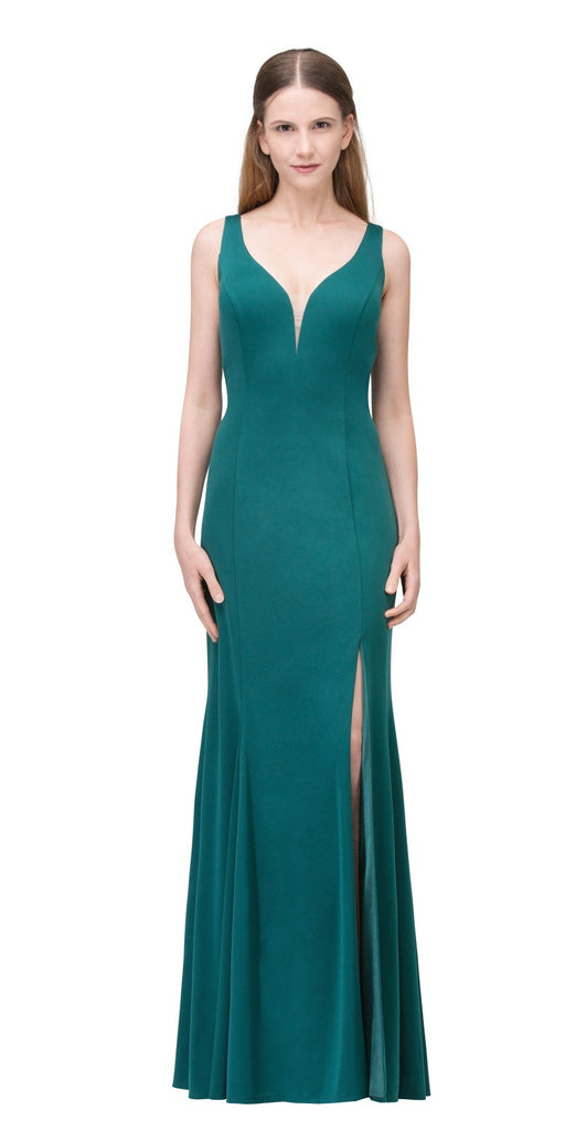 Hunter Green V-Neck ITY Long Formal Dress with Slit