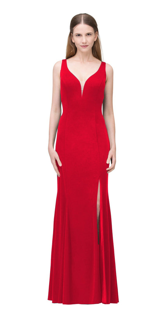 Red V-Neck ITY Long Formal Dress with Slit