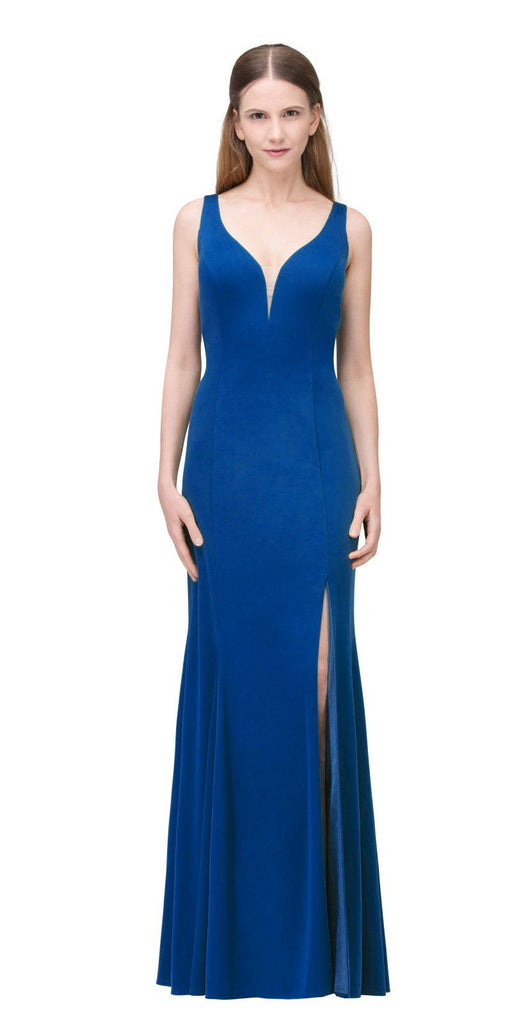 Royal Blue V-Neck ITY Long Formal Dress with Slit