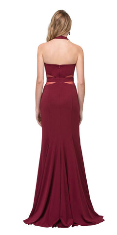 Burgundy Sheer Cut-Out Long Prom Dress Halter with Slit