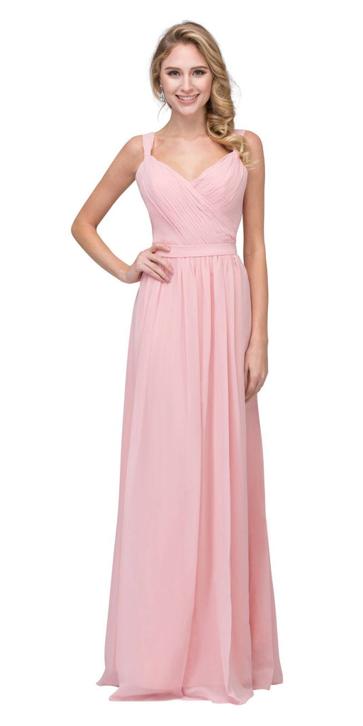 Blush A-line Long Formal Dress V-Neck Lace Up Back