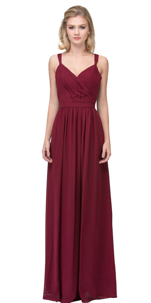 Burgundy A-line Long Formal Dress V-Neck Lace Up Back