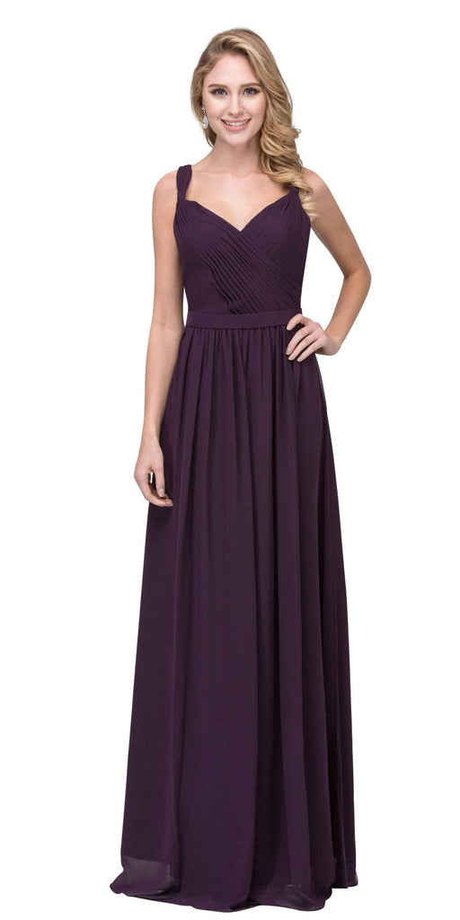Eggplant A-line Long Formal Dress V-Neck Lace Up Back