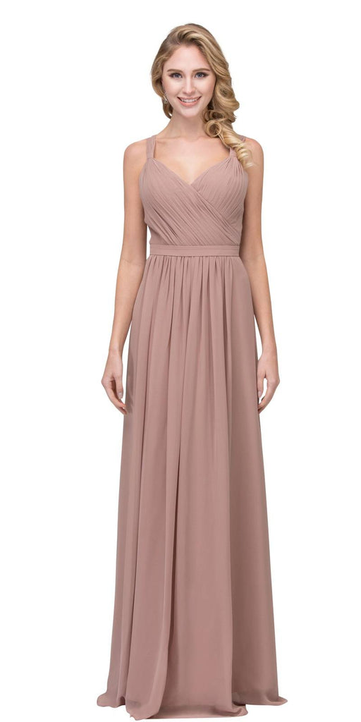 Mocha A-line Long Formal Dress V-Neck Lace Up Back