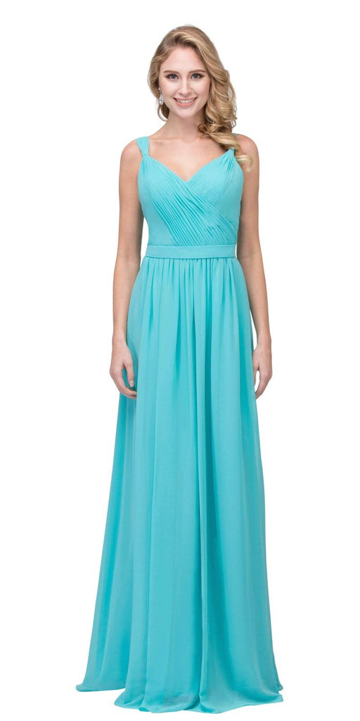 Tiffany Blue A-line Long Formal Dress V-Neck Lace Up Back