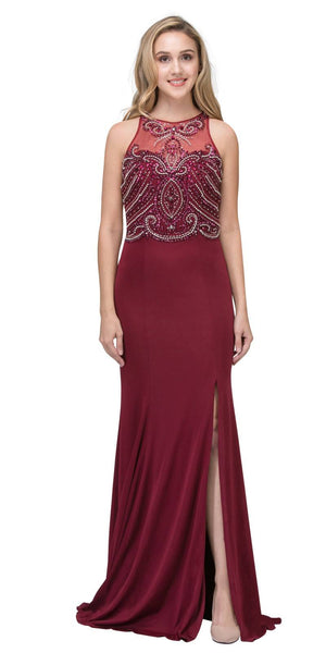 Burgundy Sleeveless ITY Long Formal Dress Beaded Bodice
