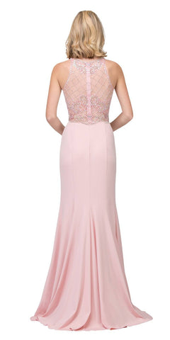 Blush Beaded Bodice ITY Long Prom Dress with Slit