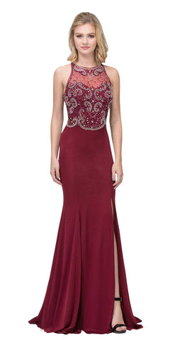 Burgundy Beaded Bodice ITY Long Prom Dress with Slit
