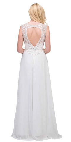 Off White Cap Sleeved Beaded Long Formal Dress with Keyhole Back