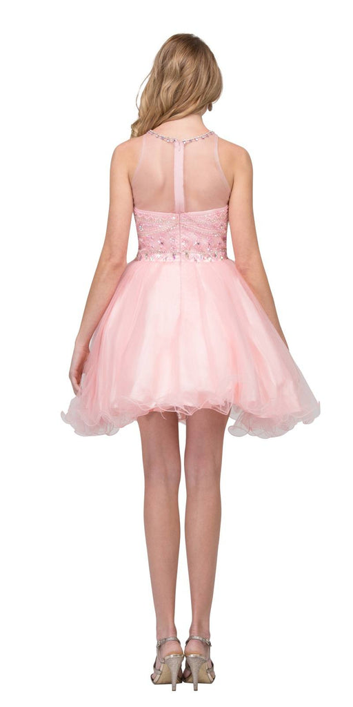 Blush Beaded Short Prom Dress with Illusion Neckline