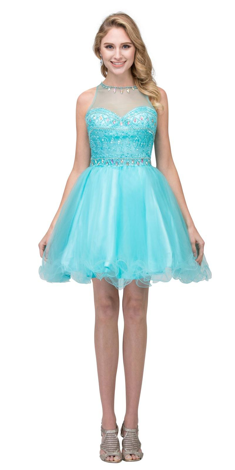 Starbox USA 17244 Silver Beaded Short Prom Dress with Illusion ...
