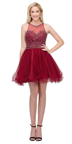 Illusion Sweetheart Neckline Beaded Short Prom Dress Burgundy