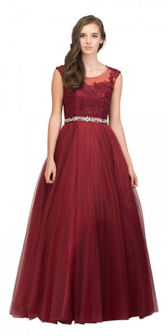 Starbox USA 17250 Sleeveless Quinceanera Dress with Cut-Out Back Burgundy