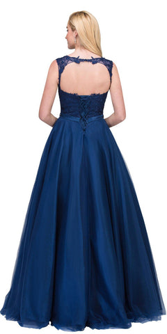 Sleeveless Quinceanera Dress with Cut-Out Back Navy Blue