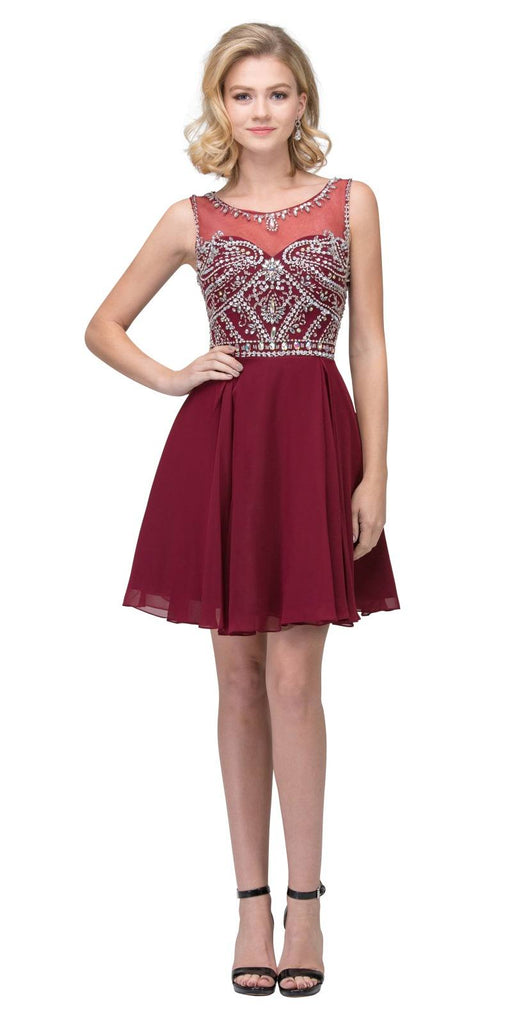 Illusion Homecoming Short Dress Beaded Top Burgundy