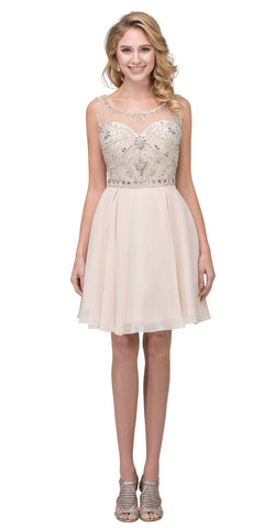 Illusion Homecoming Short Dress Beaded Top Champagne