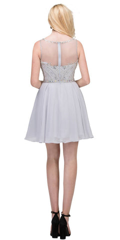 Illusion Homecoming Short Dress Beaded Top Silver