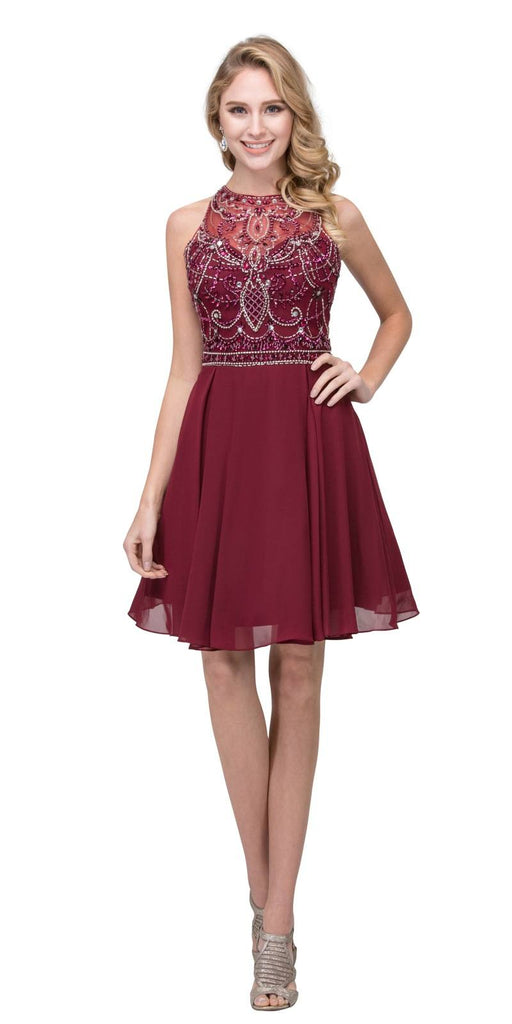 Burgundy Halter Embellished Homecoming Short Dress